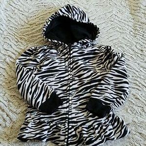Zebra fleece zip up jacket